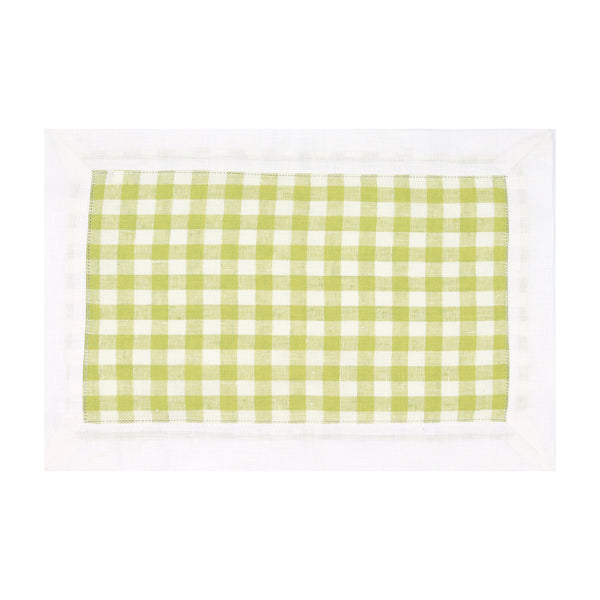 Set of 4 Gingham Linen Placemats, Apple Green