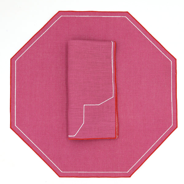 Custom Octagon Waxed Italian Linen Placemat
