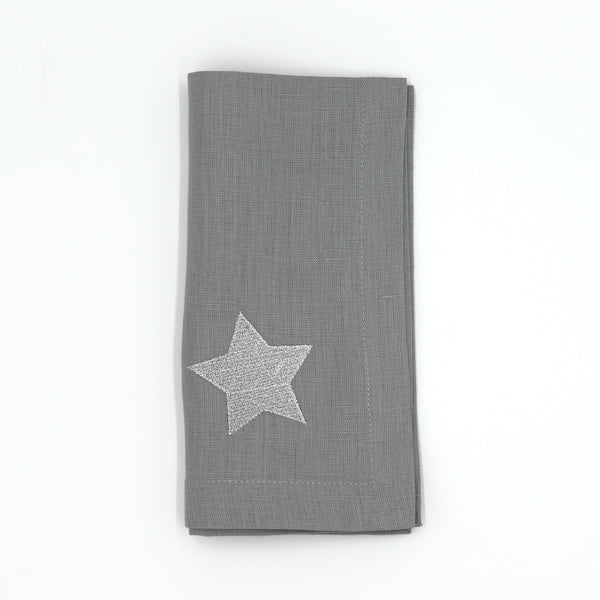 Set of 6 Star Italian Linen Napkins, Grey/Silver