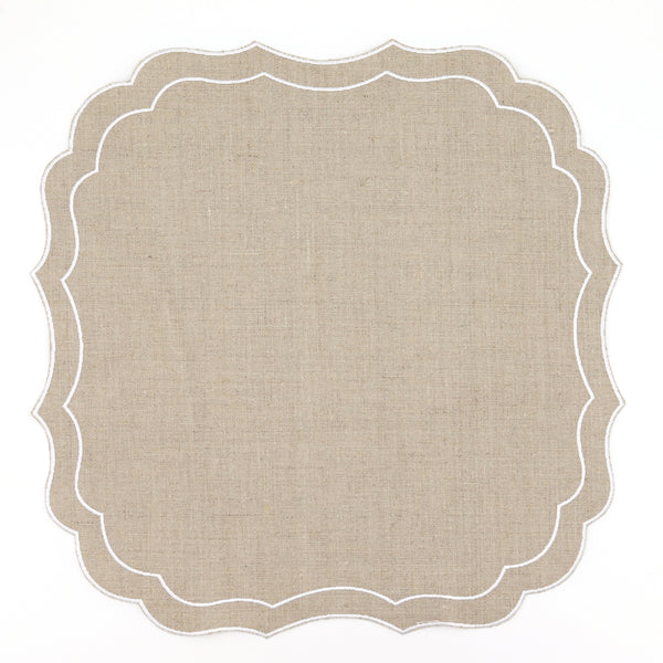 Set of 4 Stella Waxed Italian Linen Placemats, Taupe