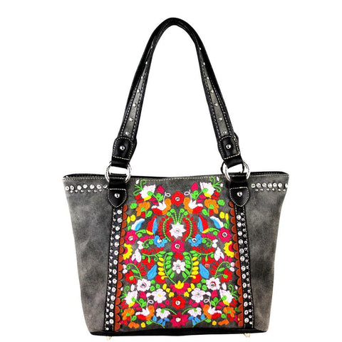 Montana West Floral Embroidered Studded Concealed Carry Tote Bag - carriesherself.com