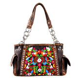 Montana West Floral Embroidered Concealed Carry Satchel Purse - carriesherself.com