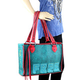 "Montana West Wide Distressed ""Live Free"" Concealed Carry Tote Bag - carriesherself.com"