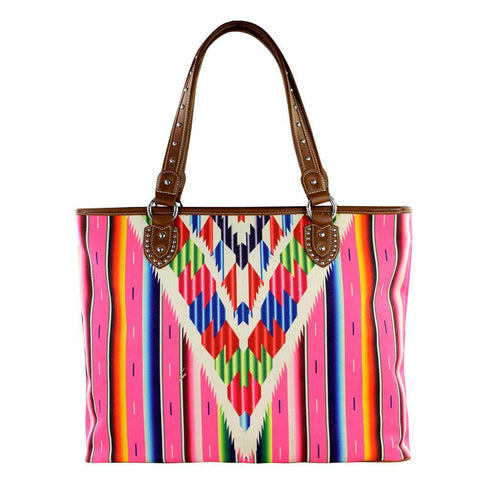 Montana West Striped Canvas Serape Concealed Carry Tote Bag MW310G-8317 - carriesherself.com