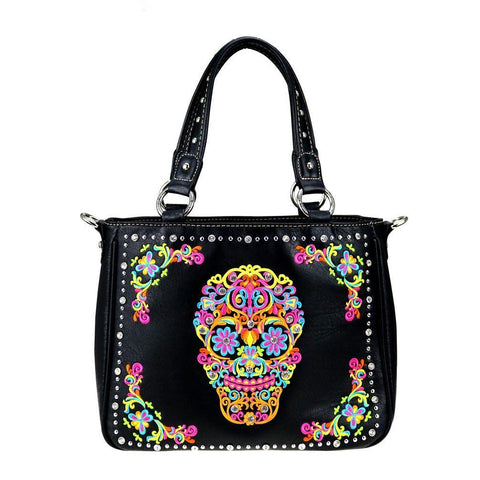 Montana West Sugar Skull Concealed Carry Interchangeable Handbag/Crossbody Purse MW326G-8260 - carriesherself.com