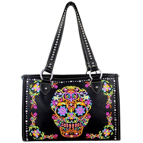 Montana West Embroidered Sugar Skull Concealed Carry Wide Tote Bag - carriesherself.com
