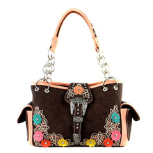 Cut-Out Boot Scroll Floral Applique Montana West Concealed Carry Satchel Purse - carriesherself.com