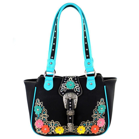 Montana West Buckle Boot Scroll Floral Applique Concealed Carry Tote Bag - carriesherself.com