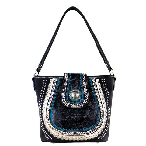 Concealed Carry Tote Bag Vintage Tooling Silver Concho Scallop Trim MW357G-916 - carriesherself.com