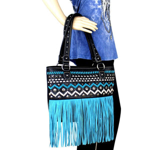 Studded Montana West Leather-Fringe Saddle Stitch Concealed Carry Tote Bag - carriesherself.com