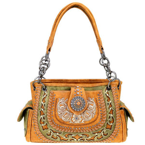 Embroidered Boot Scroll Pattern Concealed Carry Tote Bag MW424G-8085
