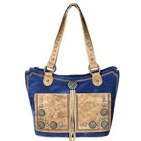 Montana West Concho Denim Collection Concealed Carry Tote Bag MW587G-8304 - carriesherself.com