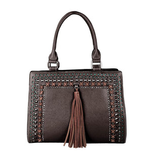 Studded Concealed Carry Satchel/Crossbody Purse Tassel MW650G-8250