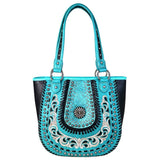 Floral Tooled Studded Montana West CCW Tote Bag Saddle Stitch Detail - carriesherself.com