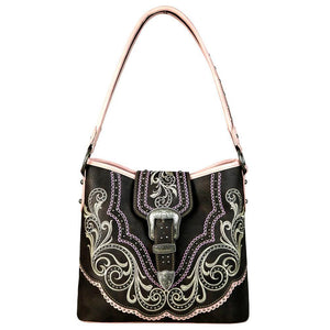 Boot Scroll Silver Belt Buckle Flap Concealed Carry Hobo Purse MW657G-918 - carriesherself.com