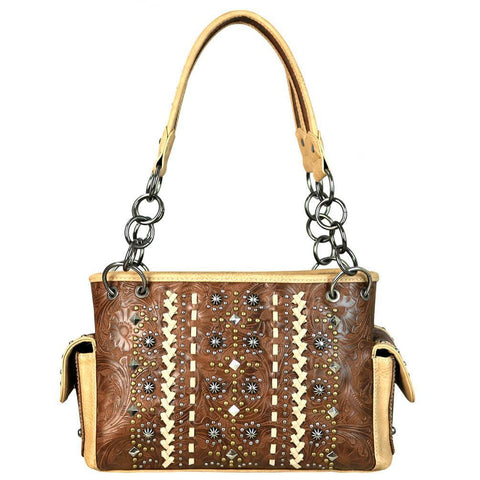 MW662G-8085 Montana West Tooled Collection Concealed Carry Satchel - carriesherself.com