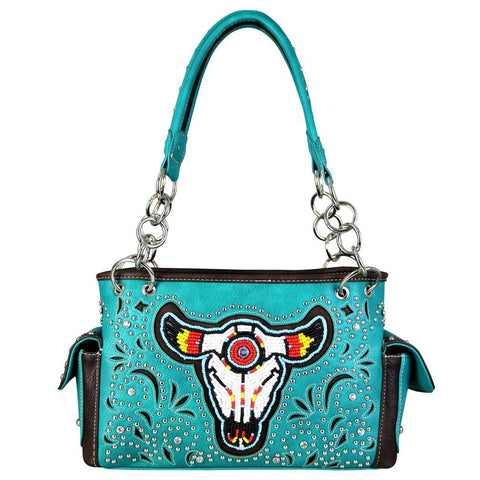 Montana West Beaded Steer Head Concealed Carry Satchel Bag - carriesherself.com