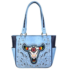 MW665G-8559 Montana West Beaded Steer Head Collection Concealed Carry Tote - carriesherself.com