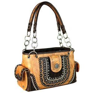 Montana West Distressed Scallop Trim Silver Studs Stitch Detail Concealed Carry Satchel Purse - carriesherself.com
