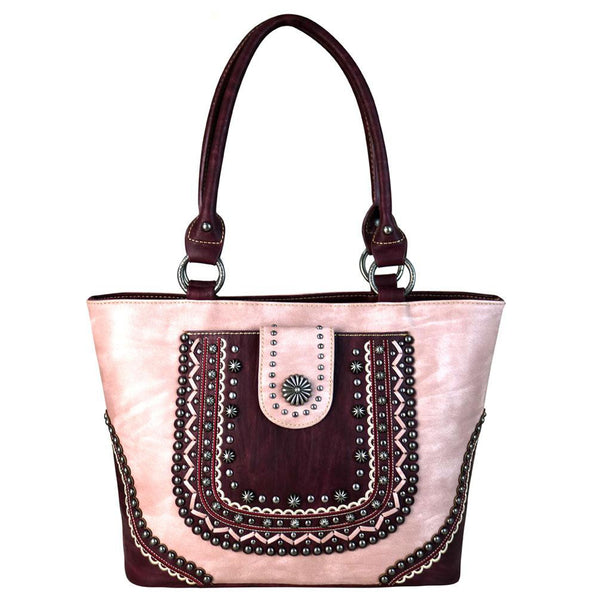 Montana West Distressed Scallop Trim Silver Studs Stitch Detail Concealed Carry Tote Bag - carriesherself.com