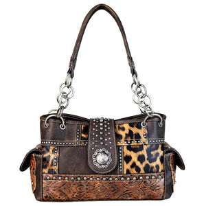 Concealed Carry Satchel Bag Leopard Print Floral Tooling Flap Concho - carriesherself.com