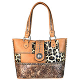 Leopard Print Floral Tooling Flap Concho Concealed Carry Tote Bag - carriesherself.com