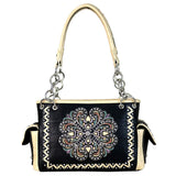 Concealed Carry Satchel Purse Embroidered Floral Pattern Whip Stitch Border - carriesherself.com