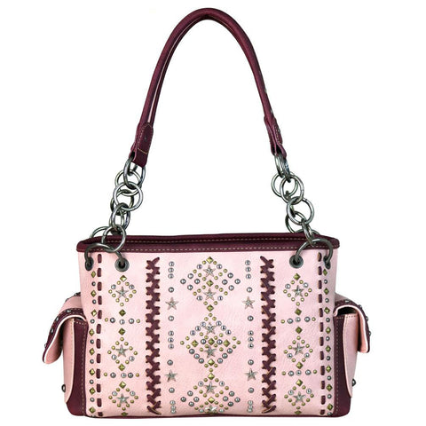 Aztec Pattern Concealed Carry Satchel Purse Vertical Saddle Stitching - carriesherself.com