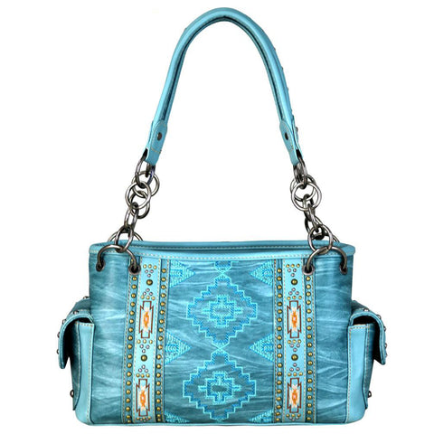Diamond Aztec Tribal Pattern Concealed Carry Satchel Purse - carriesherself.com