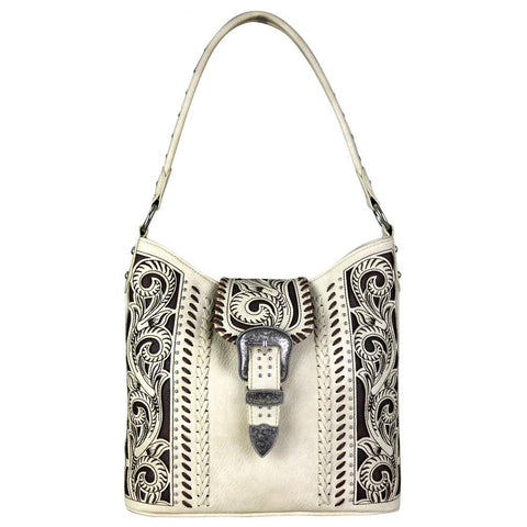 Montana West Concealed Carry Hobo Purse Floral Cut-Out Magnetic Buckle Flap - carriesherself.com