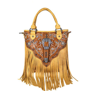 MW689G-8461 Montana West Fringe Collection Concealed Hadgun Satchel/Crossbody - carriesherself.com