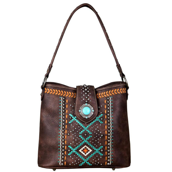 Arrow Saddle Stitch Aztec Pattern Concealed Carry Hobo Purse - carriesherself.com