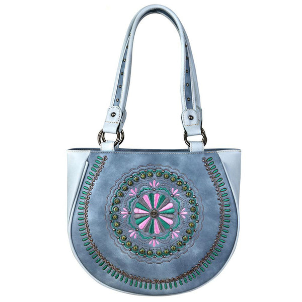 Montana West 2-Tone Concealed Carry Tote Embroidered Floral Mandala - carriesherself.com
