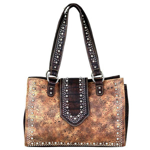 Tooled Concealed Carry Satchel Croc Print Flap & Bottom MW699G-8564 - carriesherself.com