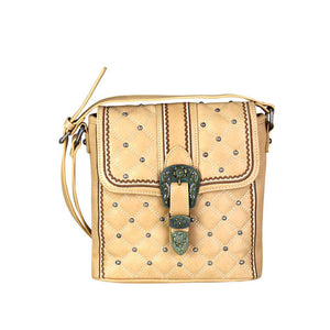 Diamond Quilted Concealed Carry Crossbody Purse Patina-Gold Buckle Flap MW703G-9360 - carriesherself.com