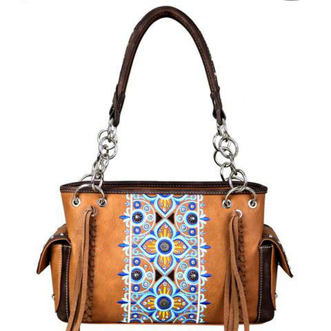 Studded Montana West Concealed Carry Satchel Purse Floral Embroidered Pattern MW705G-8085 - carriesherself.com