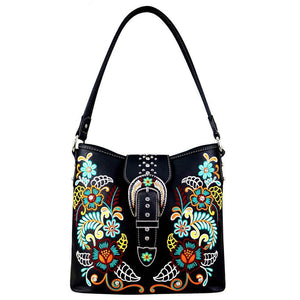 Montana West Colorful Floral Embroidered Concealed Carry Hobo Purse MW706G-916