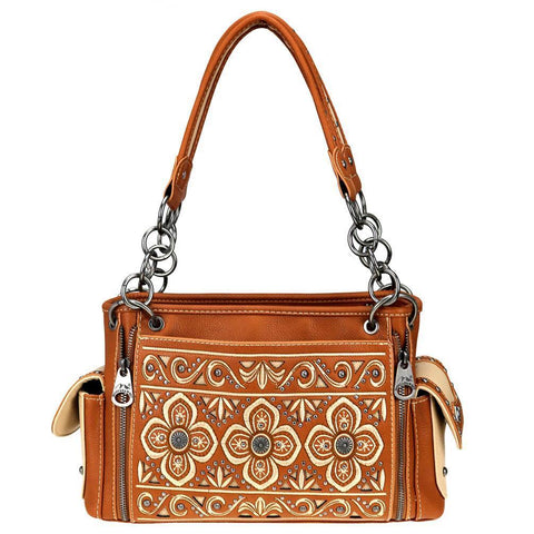 Montana West Floral Embroidered Cut-Out Detail Concealed Carry Satchel MW710G-8085 - carriesherself.com