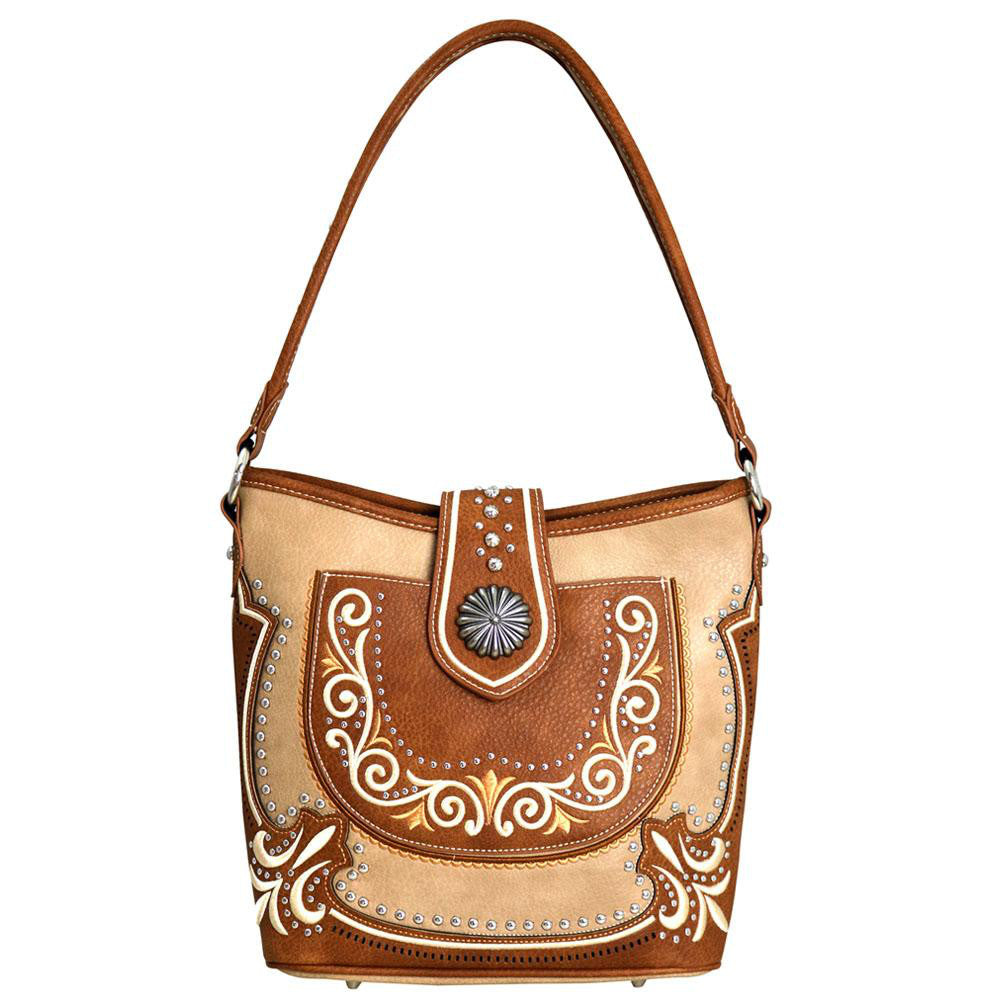 Emroidered Boot Scroll Concealed Carry Hobo Purse Silver Accents - carriesherself.com