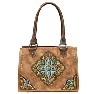 Montana West Aztec Floral-Filled Diamond Concealed Carry Tote Bag MW715G-8250 - carriesherself.com