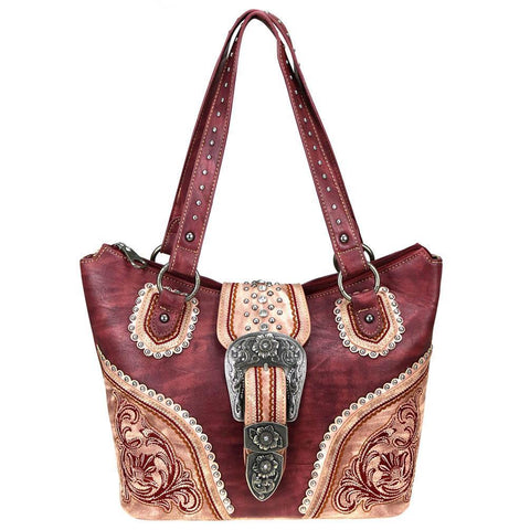 MW719G-8323 Montana West Buckle Collection Concealed Carry Tote - carriesherself.com