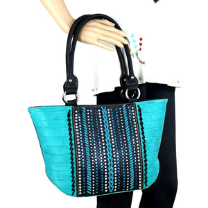 Croc Print Whipstitch Studded Concealed Carry Tote Bag MW729G-8317 - carriesherself.com