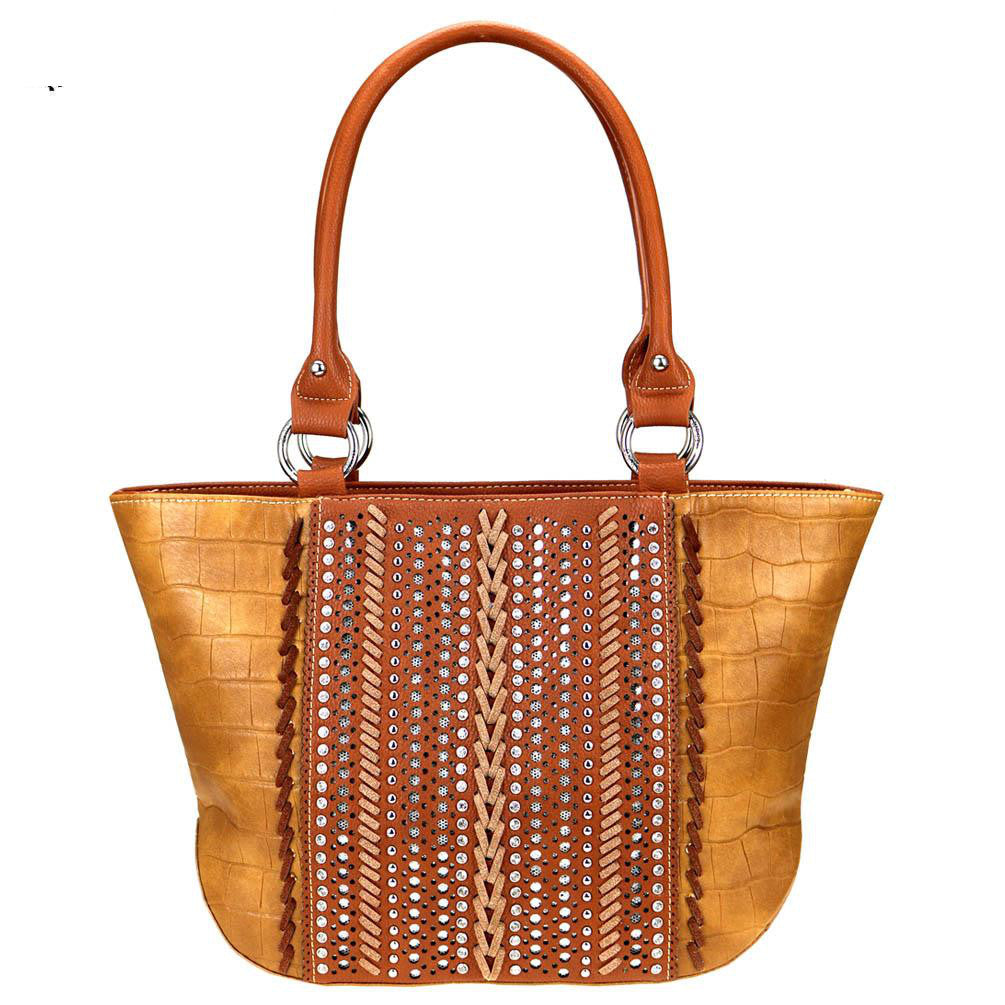 Croc-Print-Whipstitch-Studded-Concealed-Carry-Tote-Bag-MW729G-8317 thumbnail 11