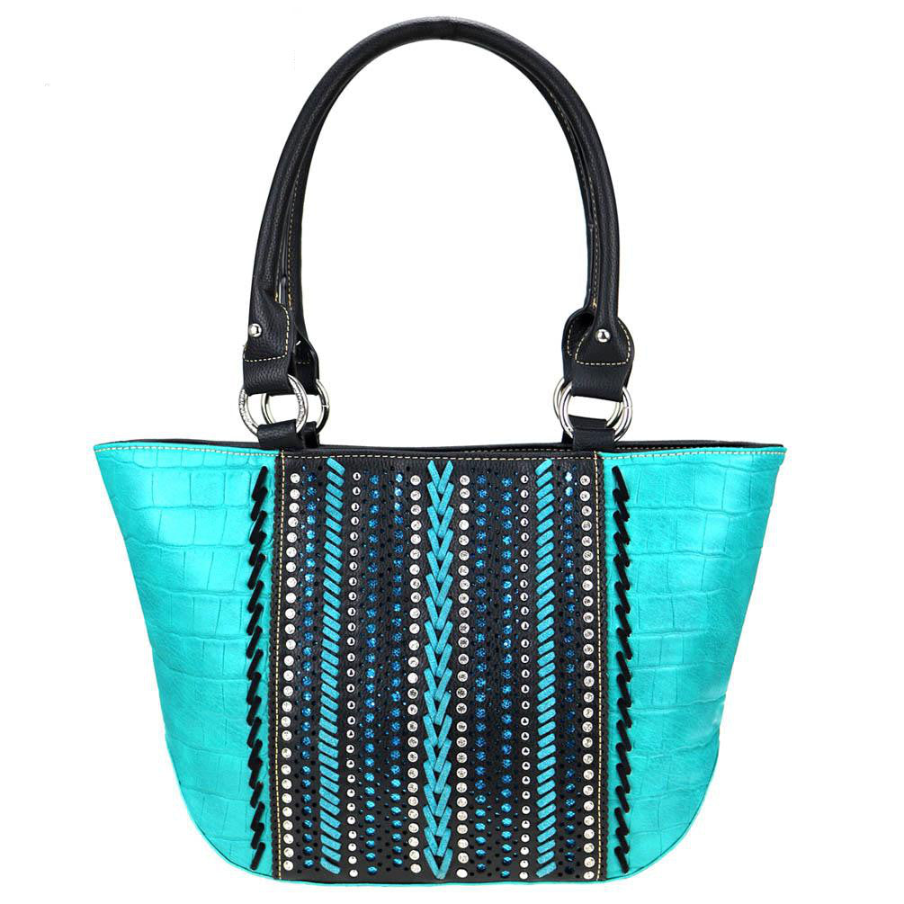 Croc-Print-Whipstitch-Studded-Concealed-Carry-Tote-Bag-MW729G-8317 thumbnail 10
