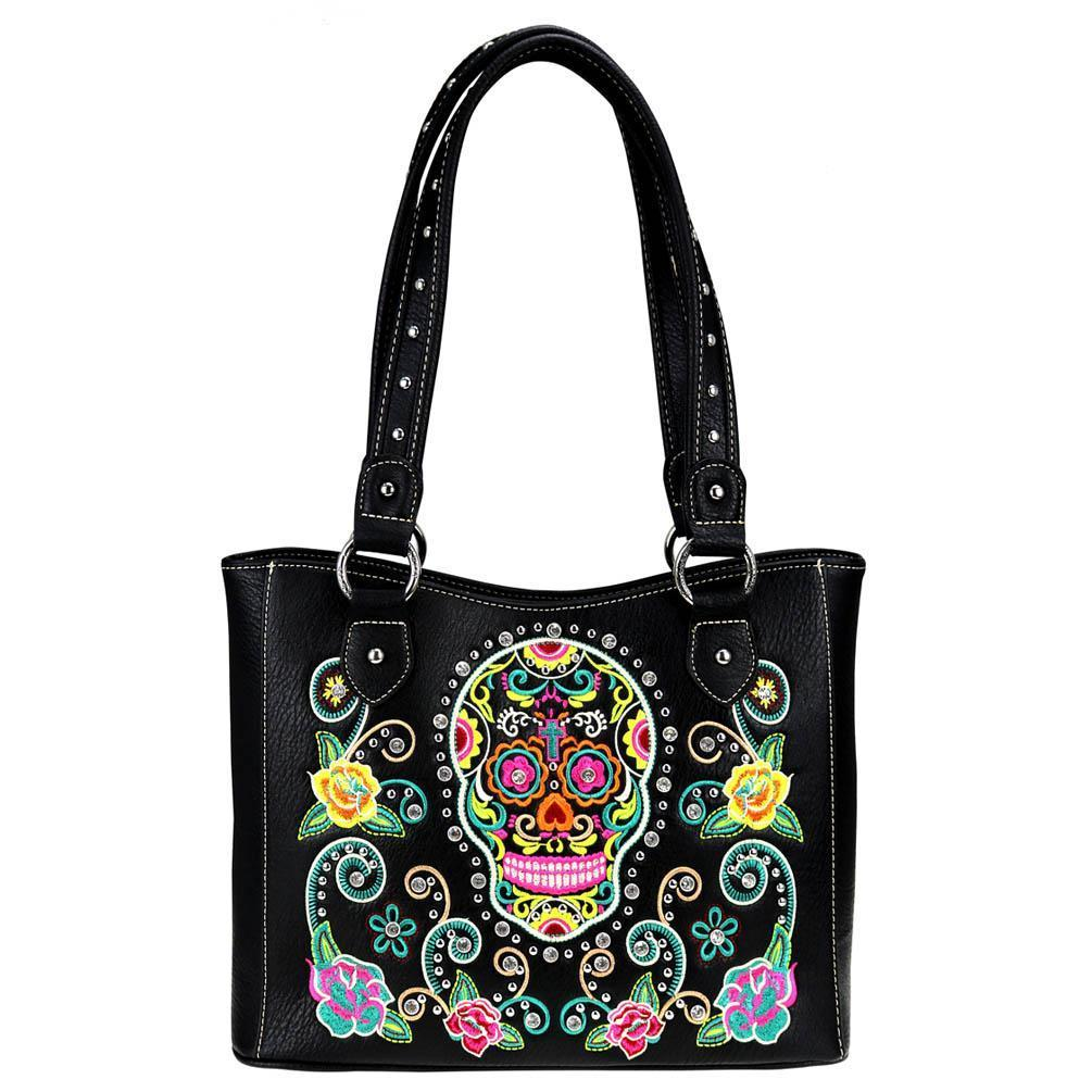 Montana West Colorful Sugar Skull Concealed Carry Tote Bag MW741G-8248 - carriesherself.com