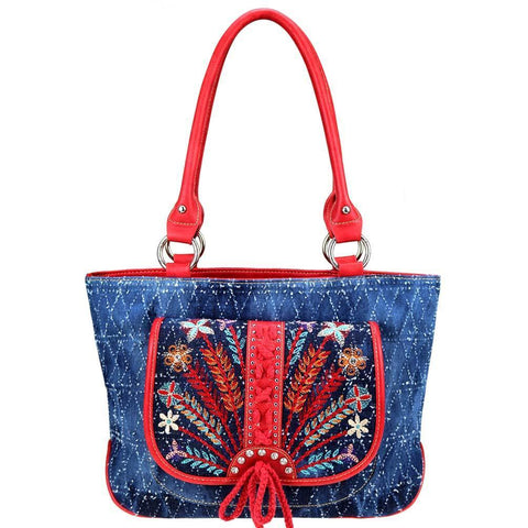Patriotic Denim Embroidered Concealed Carry Tote Bag MW743G-8317 - carriesherself.com