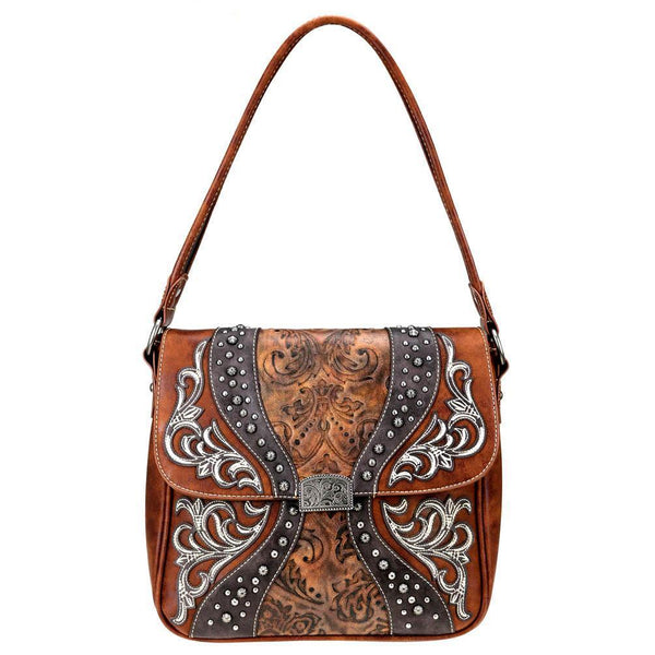 Embossed Floral & Boot Scroll Pattern Concealed Carry Hobo Purse MW754G-916 - carriesherself.com