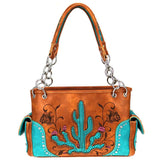 Floral Embroidery & Cactus Cut-out Concealed Carry Satchel MW757G-8085 - carriesherself.com