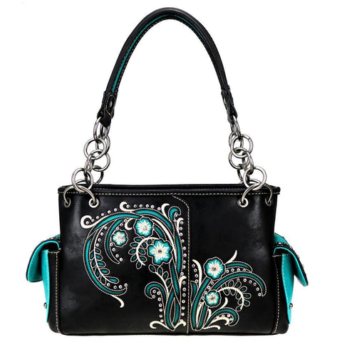 Floral Cutout Cross Stitch Tassel Concealed Carry Satchel Purse MW758G-8085 - carriesherself.com