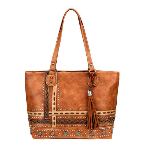 Montana West Studded Saddle Stitch Tassel Concealed Carry Tote MW762G-8317